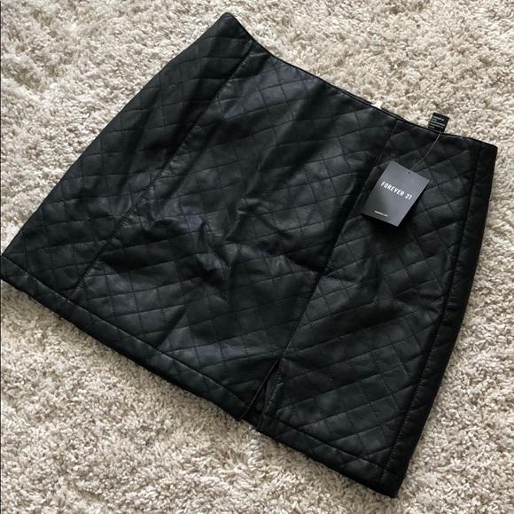 Forever 21 Dresses & Skirts - NWT black leather skirt size Large